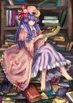 book enkifield hat lion_(enkifield) long_hair patchouli_knowledge purple_eyes purple_hair solo touhou violet_eyes