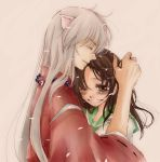 1girl animal_ears blush brown_hair couple hair_grab hand_on_head happy higurashi_kagome hinagiku_(hina-asap) hug inuyasha inuyasha_(character) japanese_clothes jewelry long_hair necklace open_mouth petals profile school_uniform serafuku simple_background smile wink