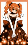 blush bow dress earrings elbow_gloves fidget fidgeting gloves highres idolmaster jewelry natsu_(anta_tte_hitoha) necklace orange_eyes orange_hair solo takatsuki_yayoi twintails