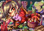 1girl ashley bat brown_hair cake candle christmas christmas_tree flower food fruit gift hatosuke icing macaron pastry red_(warioware) rose socks strawberry stuffed_animal stuffed_toy tatsunokosso thigh-highs thighhighs twintails warioware zettai_ryouiki