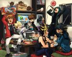 arms_up black_hair blonde_hair blue_eyes brand_name_imitation brown_eyes brown_hair card_pendant chain chain_necklace choker coca-cola duel_disk food fudou_yuusei green_eyes green_hair jack_atlas jacket jewelry kaiba_seto karaoke kuriboh kuribon male marufuji_ryou mayday microphone monster multicolored_hair multiple_boys mutou_yuugi necklace oinu_103 open_mouth parody punching purple_hair short_hair singing sitting smile socks soda spiked_hair spiky_hair toys_r_us winged_kuriboh wink wrist_cuffs yuki_judai yuu-gi-ou yuu-gi-ou_5d's yuu-gi-ou_5d's yuu-gi-ou_duel_monsters yuu-gi-ou_gx yuuki_juudai