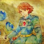 bandage bandages belt blue_eyes brown_hair earrings ghibli gloves jewelry kaze_no_tani_no_nausicaa nausicaa ohmu red_eyes short_hair smile studio_ghibli