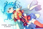 blue_eyes blue_hair cape eirika fingerless_gloves fire_emblem fire_emblem:_seima_no_kouseki fire_emblem_sacred_stones gloves jikunyaga skirt sword thigh-highs thighhighs water weapon