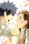 1girl blush brown_hair couple kamijou_touma misaka_mikoto school_uniform short_hair sweatdrop to_aru_kagaku_no_railgun to_aru_majutsu_no_index yu@genkoochu(5tsukino)