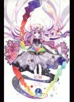 amano_miyabi book colorful floating_hair floating_object flying_paper hat highres long_hair magic outstretched_arms paper patchouli_knowledge pillarboxed planet purple_eyes purple_hair rainbow_order solo spread_arms touhou traditional_media very_long_hair violet_eyes watercolor_(medium)