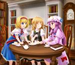 alice_margatroid blonde_hair blue_eyes book bookshelf chair clock crescent cup dress grin hair_ribbon hairband hat hexagram kirisame_marisa kisaragi_miyu long_hair multiple_girls no_hat no_headwear patchouli_knowledge purple_eyes purple_hair ribbon short_hair sidelocks sitting smile sweatdrop table teacup touhou violet_eyes wavy_mouth