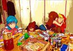 androgynous artist_request blonde_hair blue_(pokemon) blue_hair blush bottle brown_hair can chips crystal_(pokemon) cup drink drunk food holding hoodie long_hair multiple_girls napkin ninjin_(eva2014) no_bandana odamaki_sapphire pokemon pokemon_special reverse_trap yellow_(pokemon) yuri