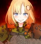 1girl armor artificialdyslexia bangs blonde_hair blue_eyes doom_(series) full_armor green_armor highres hololive hololive_english looking_at_viewer praetor_suit red_background short_hair smile solo teeth upper_body watson_amelia