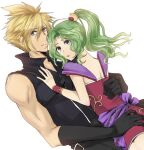 1boy 1girl blonde_hair blue_eyes bracelet cloud_strife crossover dissidia_final_fantasy dress ff_iraira final_fantasy final_fantasy_vi final_fantasy_vii gloves green_hair hand_on_another's_ass hand_on_another's_back hand_on_another's_chest hug jewelry looking_at_viewer pantyhose ponytail short_dress sleeveless_sweater spiky_hair square_enix tina_branford violet_eyes