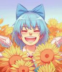 1girl :d absurdres bangs blue_bow blue_hair blush bow cirno closed_eyes commentary_request day eyebrows_visible_through_hair facing_viewer field flower flower_field hair_bow happy highres ice ice_wings medium_hair nostrils outdoors red_neckwear red_ribbon ribbon royl sky smile solo sunflower teeth touhou upper_body upper_teeth wing_collar wings yellow_flower