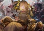 1girl bangs blonde_hair breasts bug butterfly butterfly_on_finger cape colored_eyelashes dress eyebrows_visible_through_hair flowing_dress ike_seika insect isabeau_de_baviere jewelry jitome large_breasts light_particles light_smile long_hair long_sleeves magia_record:_mahou_shoujo_madoka_magica_gaiden mahou_shoujo_madoka_magica mahou_shoujo_tart_magica mature_female necklace open_mouth parted_lips queen ring robe royal_robe solo teeth yellow_eyes
