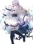 1girl abstract_background absurdres azur_lane black_footwear boots bow chain clip_studio_paint_(medium) coat_dress commentary dress full_body fur-trimmed_collar fur-trimmed_legwear fur_trim hand_up hat hat_bow heterochromia highres hinaname knee_boots long_hair long_sleeves looking_at_viewer murmansk_(azur_lane) papakha pink_eyes platinum_blonde_hair simple_background smile solo violet_eyes white_background white_dress white_headwear