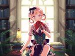 bang_dream! blonde_hair blush dress hiromachi_nanami red_eyes short_hair smile
