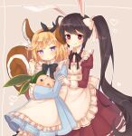 2girls :3 alice_(wonderland) alice_(wonderland)_(cosplay) animal animal_ears apron arpiel black_headband black_neckwear blonde_hair blue_dress blush bow bowtie brown_hair chikipote commentary_request cosplay dress eyebrows_behind_hair gloves hair_ornament hair_ribbon headband heart heart_in_eye irene_(arpiel) juliet_sleeves leaf long_hair long_sleeves looking_at_viewer maid maid_apron multiple_girls neck_ribbon playing_with_hair puffy_sleeves rabbit_ears red_dress red_eyes ribbon ruu_(arpiel) short_hair simple_background smile squirrel_ears squirrel_tail star_(symbol) star_in_eye symbol_in_eye tail twintails very_long_hair violet_eyes white_apron white_gloves white_ribbon x_hair_ornament