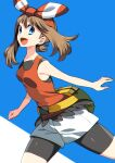 1girl :d bangs bare_arms bike_shorts blue_eyes bow_hairband breasts brown_hair commentary_request eyelashes fanny_pack from_side hairband highres long_hair looking_at_viewer may_(pokemon) open_mouth pokemon pokemon_(game) pokemon_oras shiny shirt shorts sleeveless sleeveless_shirt smile solo tongue two-tone_background white_shorts yellow_bag yuihico
