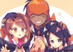 1girl 2boys :o ahoge allister_(pokemon) bangs black_hair black_hoodie blush bob_cut brown_eyes brown_hair buttons claw_pose closed_eyes collared_dress collared_shirt commentary_request dark-skinned_male dark_skin dress dynamax_band gloria_(pokemon) gloves grin gym_leader hand_on_another's_head hands_up highres hood hood_down hoodie long_sleeves multiple_boys nagatsukiariake open_mouth pink_dress pokemon pokemon_(game) pokemon_swsh raihan_(pokemon) raised_eyebrows shiny shiny_hair shirt short_hair single_glove smile teeth tongue