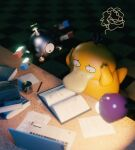 blurry book commentary computer eyelashes gen_1_pokemon hands_on_own_head highres laptop looking_down louie_zong magnemite no_humans paper pencil pokemon pokemon_(creature) psyduck reading shiny squiggle