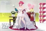 1girl alcohol azur_lane balloon bare_shoulders black_prince_(azur_lane) bottle champagne_bottle commentary_request dress expressions hair_bun hair_ornament high_heels highres looking_at_viewer official_alternate_costume official_art pink_eyes pink_hair promotional_art standing suisai thigh-highs white_dress white_footwear white_legwear wine_bottle