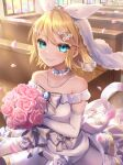 1girl aqua_eyes bangs bare_shoulders blonde_hair blush bouquet bow bridal_veil closed_mouth collar commentary dress elbow_gloves eyebrows_visible_through_hair flower gloves hair_between_eyes hair_flower hair_ornament hair_ribbon highres indoors jewelry kagamine_rin looking_at_viewer petals pink_flower pink_rose ribbon rose short_hair smile solo soramame_pikuto stained_glass standing sunlight upper_body veil vocaloid wedding_dress white_dress white_gloves