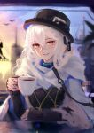 1girl absurdres arknights black_headwear black_sweater blurry blurry_background coat commentary cross cross_necklace cup english_commentary hand_on_table hand_up hat highres holding holding_cup jewelry long_hair long_sleeves looking_at_viewer necklace parted_lips red_eyes rhodes_island_logo runemill scarf smile solo specter_(arknights) specter_(undercurrent)_(arknights) sunset sweater teacup top_hat upper_body white_coat white_hair white_scarf work_in_progress
