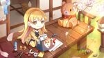 1girl blonde_hair cherry_blossoms chibi eyebrows_visible_through_hair fang father's_day gift glue_stick heart highres mila_(smc) official_art paper pen pencil petals ribbon scissors smile stuffed_animal stuffed_toy super_mecha_champions teddy_bear thank_you wind_chime yellow_eyes
