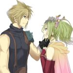 1boy 1girl armor blonde_hair blue_eyes bracelet cape cloud_strife crossover dango_(ff_iraira) dissidia_012_final_fantasy dissidia_final_fantasy dress earrings elbow_gloves final_fantasy final_fantasy_vi final_fantasy_vii fingerless_gloves gloves green_hair hair_ribbon hands_on_own_chest headpat jewelry looking_at_another pauldrons ponytail red_dress ribbon shoulder_armor sleeveless sleeveless_sweater sleeveless_turtleneck smile spiky_hair square_enix suspenders tina_branford turtleneck