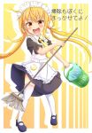 1girl :d alternate_costume apron bangs black_dress black_footwear blonde_hair broom bucket commentary_request dress drop_shadow enmaided eyebrows_visible_through_hair frilled_apron frills full_body hair_between_eyes holding holding_broom holding_bucket kantai_collection long_hair low_twintails maid maid_apron maid_headdress necktie open_mouth puffy_short_sleeves puffy_sleeves red_eyes satsuki_(kancolle) shiruzu_(sills_ud) shoes short_sleeves smile solo standing thigh-highs translation_request twintails v-shaped_eyebrows very_long_hair white_apron white_legwear yellow_neckwear