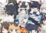 ! 1other 2boys 6+girls :3 :d aak_(arknights) ambiguous_gender animal_ear_fluff animal_ears arknights bangs black_cape black_footwear black_gloves black_hair black_headwear black_jacket black_shirt blaze_(arknights) blonde_hair blue_eyes boots braid broca_(arknights) brown_background brown_hair cabbie_hat cameo cape cat_ears chibi cliffheart_(arknights) closed_mouth colored_eyelashes commentary computer cup doctor_(arknights) error_message eyebrows_visible_through_hair fang flower folinic_(arknights) fur-trimmed_cape fur_trim gloves green_eyes green_hair grey_eyes grey_gloves grey_hair hair_flower hair_ornament hairband hat haze_(arknights) hood hood_up hooded_jacket indra_(arknights) jacket jessica_(arknights) kal'tsit_(arknights) laptop leopard_ears long_hair lying melantha_(arknights) minigirl mint_(arknights) mousse_(arknights) mug multicolored_hair multiple_boys multiple_girls nightmare_(arknights) on_side one_eye_closed open_clothes open_jacket open_mouth orange_hair parted_lips paw_gloves paws phantom_(arknights) ponytail pramanix_(arknights) purple_hair red_hairband redhead rosmontis_(arknights) schwarz_(arknights) shirt shoe_soles silverash_(arknights) simple_background skyfire_(arknights) smile someyaya spoken_exclamation_mark streaked_hair sweat swire_(arknights) thick_eyebrows too_many very_long_hair violet_eyes waai_fu_(arknights) white_hair white_headwear white_jacket white_shirt witch_hat yellow_eyes