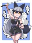 1girl animal_ears aramaru arm_up bangs black_gloves black_hair black_kimono blue_background breasts closed_mouth commentary fishnet_gloves fishnets fox_ears fox_tail gloves grey_hair grey_sash hand_gesture highres holding holding_sword holding_weapon japanese_clothes kemono_friends kimono leg_up long_hair looking_at_viewer medium_breasts ninja orange_eyes outside_border short_kimono silver_fox_(kemono_friends) sleeveless sleeveless_kimono smoke solo standing standing_on_one_leg sword tail thigh_strap very_long_hair wakizashi weapon