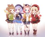 4girls :d ahoge animal animal_ear_fluff animal_ears arm_behind_back bag bandaged_leg bandages bangs bangs_pinned_back bell beret black_footwear black_headwear black_shirt black_skirt blonde_hair blue_eyes blue_shorts blue_skirt boots bow braid brown_bow brown_eyes brown_footwear brown_hair brown_skirt cabbie_hat cat cat_ears cat_girl cat_tail coconut collared_shirt commentary diona_(genshin_impact) drinking_straw english_commentary eyebrows_visible_through_hair flower forehead fruit_cup genshin_impact green_shirt hair_bell hair_between_eyes hair_bow hair_ornament hair_rings hands_up hat highres holding holding_animal jingle_bell kezi klee_(genshin_impact) kneehighs long_hair long_sleeves looking_at_viewer low_twintails multiple_girls ofuda open_mouth pink_hair pleated_skirt pointy_ears puffy_long_sleeves puffy_shorts puffy_sleeves purple_hair qiqi_(genshin_impact) red_flower red_headwear red_sweater reflection shirt shoes short_eyebrows short_shorts shorts shorts_under_skirt shoulder_bag signature single_braid skirt smile socks standing sweater tail thick_eyebrows thigh-highs twintails two_side_up very_long_hair violet_eyes w white_background white_legwear white_shirt white_shorts yaoyao_(genshin_impact) yellow_shirt