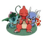 apple brown_eyes charmeleon claws closed_eyes commentary_request fangs fire food fruit gen_1_pokemon grass highres holding holding_food holding_fruit ivysaur kochi8i no_humans open_mouth plant pokemon pokemon_(creature) red_eyes sitting sweatdrop tongue vines wartortle