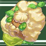 cauliflower closed_mouth commentary_request fluffy full_body gen_5_pokemon green_background highres leaf mian_(3zandora) no_humans orange_eyes pokemon pokemon_(creature) smile solo whimsicott