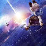 1girl aircraft airship animal_ears blush clouds dowsing_rod flying from_behind greatmosu grey_hair highres mouse_ears mouse_tail nazrin palanquin_ship short_hair skirt snow solo tail touhou