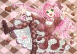 1girl :d akira_ituki argyle argyle_background bangs bow brown_bow brown_dress brown_legwear candy chocolate chocolate_heart dress floating_hair food green_eyes hair_bow hair_intakes heart layered_dress long_hair long_sleeves macross macross_7 mylene_jenius neck_ribbon open_mouth outstretched_arms outstretched_hand pantyhose pink_hair pink_ribbon plaid plaid_bow ribbon shiny shiny_hair smile solo very_long_hair