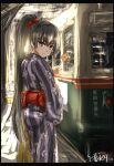 1girl black_hair ground_vehicle hairband highres isokaze_(kancolle) japanese_clothes kantai_collection kimono long_hair looking_at_viewer ponytail red_hairband seitei_(04seitei) smile solo train yukata