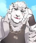 1boy animal_ears arknights bandaged_hands bandages black_tank_top blush chain_necklace dog_tags fangs furry highres jacket jacket_on_shoulders male_focus mountain_(arknights) pectorals sak_(sakarov_) salute scar scar_across_eye short_hair sky solo tank_top thick_eyebrows tiger_boy tiger_ears two-finger_salute upper_body white_fur white_hair