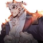 1boy alternate_facial_hair animal_ears arknights black_jacket facial_hair frown furry goatee jacket looking_at_viewer male_cleavage male_focus mountain_(arknights) official_alternate_costume onion_holic partially_unbuttoned pectorals scar scar_across_eye short_hair shoulder_spikes solo spikes tied_hair tiger_boy tiger_ears upper_body white_fur white_hair