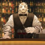 1boy absurdres alternate_costume animal_ears arknights bar bartender black_tank_top black_vest bow bowtie chain_necklace cup drinking_glass formal furry highres male_focus mountain_(arknights) niwan pants scar scar_across_eye shirt short_hair sleeves_rolled_up smile solo tank_top tiger_boy tiger_ears upper_body vest white_fur white_hair white_pants white_shirt wine_glass