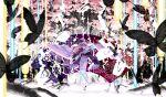 1girl alternate_hair_length alternate_hairstyle arm_up bangs black_butterfly blue_kimono blurry bug butterfly cherry_blossom_print cherry_blossoms cloud_print danmaku depth_of_field dual_wielding egasumi fan floating floating_hair floral_print folding_fan giant_tree glowing goshoguruma hair_over_one_eye hat highres holding holding_fan insect japanese_clothes kimono laser_beam long_hair long_sleeves looking_at_viewer mob_cap moon_print obi open_mouth pink_eyes pink_hair platform_footwear print_sash purple_sash roots saigyou_ayakashi saigyouji_yuyuko saigyouji_yuyuko's_fan_design sakuraba_yuuki sash see-through shiny shiny_hair shippou_(pattern) smile solo spell_card tabi touhou tree triangular_headpiece veil wide_sleeves zouri