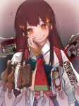 1girl 6+others akagi_(kancolle) bangs brown_eyes brown_gloves brown_hair commentary_request flying_sweatdrops food gloves grin haagen-dazs highres ice_cream_cup japanese_clothes kantai_collection long_hair multiple_others muneate partially_fingerless_gloves popsicle ruohire9 single_glove smile solo_focus sparkle straight_hair tasuki upper_body watermelon_bar yugake