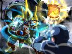 3boys android arm_cannon armor bamboo_pandamonium_(mega_man) battle blue_headwear braid braided_ponytail commentary_request electricity energy_ball fire hand_on_own_arm helmet legs_apart long_hair male_focus mega_man_(series) mega_man_x8 mega_man_x:_command_mission mega_man_x_(character) mega_man_x_(series) multiple_boys napo ninetails_(mega_man) powering_up robot_ears single_braid standing weapon wind