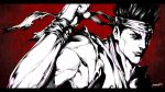 1boy absurdres airon_(ironboy1203) clenched_hand commentary_request dougi elbowing headband high_contrast highres male_focus monochrome muscular muscular_male nose portrait red_background short_hair signature sleeveless solo spiky_hair virtua_fighter yuki_akira