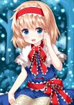 1girl :d alice_margatroid bangs blonde_hair blue_background blue_dress blue_eyes blurry blurry_background book capelet dress eyebrows_visible_through_hair forest frilled_ribbon frills hairband hand_in_hair highres holding holding_book light_particles lolita_hairband looking_at_viewer nature open_book open_mouth outdoors red_hairband red_ribbon ribbon ruu_(tksymkw) short_hair smile solo touhou white_capelet