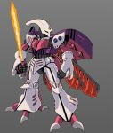 beam_saber clenched_hand dunbine fusion grey_background gundam holding holding_sword holding_weapon insect_wings looking_to_the_side mecha no_humans one-eyed qubeley rabo red_eyes science_fiction seisenshi_dunbine solo sword weapon wings zeta_gundam
