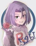1boy flower green_eyes highres james_(pokemon) kamaberuru pokemon pokemon_(anime) purple_hair rose smile team_rocket