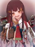 1girl 6+others akagi_(kancolle) bangs brown_eyes brown_gloves brown_hair commentary_request flying_sweatdrops food gloves grin haagen-dazs highres ice_cream_cup japanese_clothes kantai_collection long_hair multiple_others muneate open_mouth partially_fingerless_gloves popsicle ruohire9 single_glove smile solo_focus sparkle straight_hair tasuki teeth tongue upper_body watermelon_bar yugake