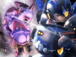 1girl 2boys android arm_cannon armor beret black_headwear breasts brother_and_sister brown_hair carrying clenched_teeth closed_eyes colonel_(mega_man) commentary dress dutch_angle electricity facing_away glint gloves hair_over_one_eye hand_on_own_arm hat hat_over_eyes helmet iris_(mega_man) long_hair mega_man_(series) mega_man_x4 mega_man_x_(character) mega_man_x_(series) multiple_boys napo princess_carry red_headwear shoulder_armor shoulder_spikes siblings spikes standing teeth very_long_hair weapon white_gloves