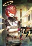 1girl arknights artist_name black_gloves clothes_writing detached_wings exusiai_(arknights) fingerless_gloves gloves gun hair_over_one_eye head_tilt highres holding holding_gun holding_weapon kriss_vector looking_at_viewer name_tag nkyoku open_mouth orange_eyes penguin_logistics_(arknights) redhead short_hair smile solo submachine_gun teeth tongue tongue_out weapon wings yellow_wings