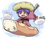 1girl bangs bread egg eyebrows_visible_through_hair food food_on_head full_body holding japanese_clothes kimono long_sleeves object_on_head on_food open_mouth purple_hair red_eyes red_kimono rokugou_daisuke salad short_hair solo sukuna_shinmyoumaru tomato touhou v-shaped_eyebrows wide_sleeves