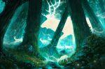 anato_finnstark animal artist_name deer forest from_side ghost giant highres huge_filesize mononoke_hime nature no_humans oversized_animal river spirit tree